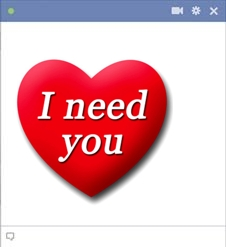 I need you Facebook emoticon