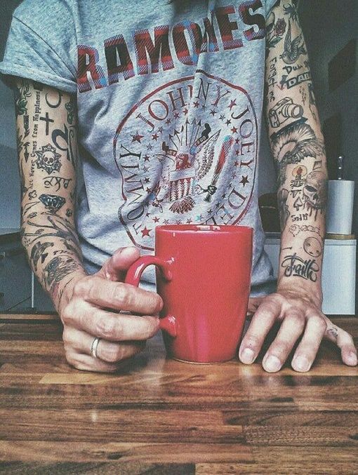 coffee cup fore arm tattoos