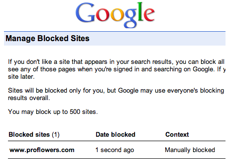 Google Blocked Search Result