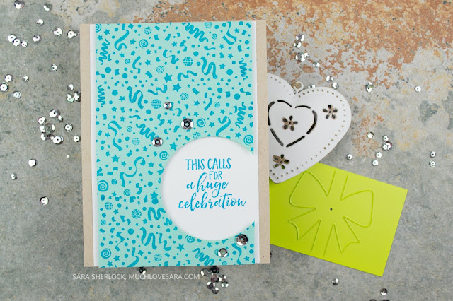 This celebration card is perfect for any celebration where you intend to give a gift card.  Using Fun Stampers Journey Celebrate Everything, and Confetti Fun Stamps, and the Gift Slider Die.