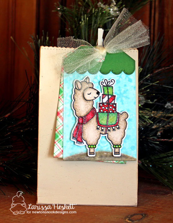 Llama Holiday gift bag by Larissa Heskett | Llama Delivery Stamp Set  and Fancy Edges Tag Die Set by Newton's Nook Designs #newtonsnook #handmade
