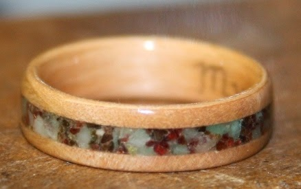 West Coast Arbutus Wood Ring with stone inlay