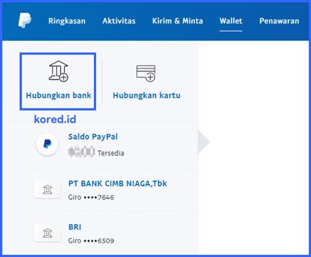 hubungkan bank ke paypal