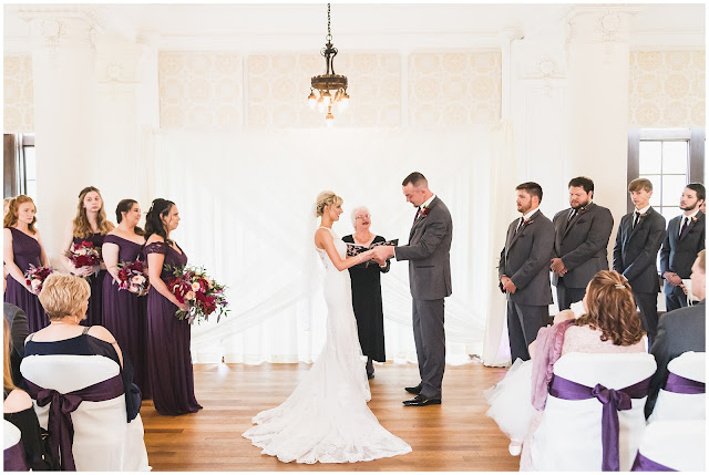 photo of wedding ceremony at Le Fer Ballroom at Saint Mary of the Woods College