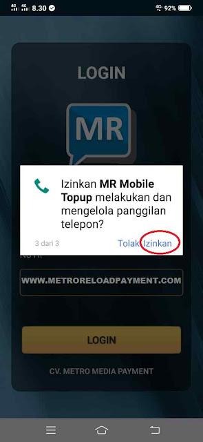Izinkan  MR Mobile Topup Melakukan dan mengelola panggilan telepon