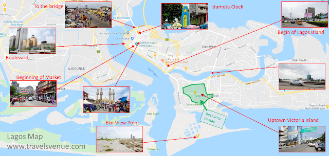 Tourist and Visitor Map of Lagos with things to see