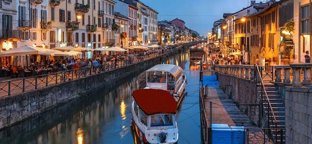 Vista do bairro Navigli em Milão
