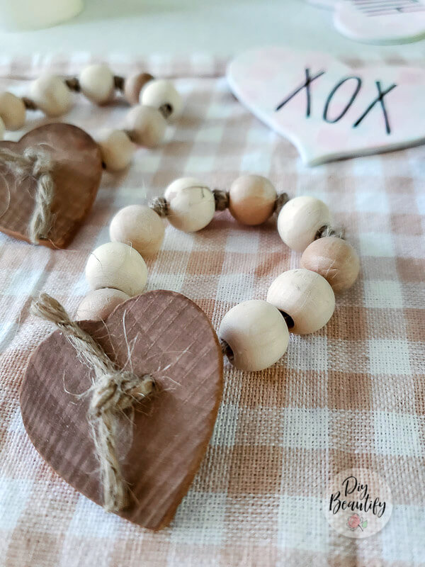 farmhouse wood bead heart napkin rings