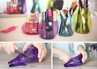 cara membuat wadah atau tempat alat make up dari botol plastik