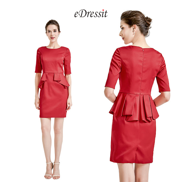 Red Half Sleeves Party Mother of the Bride Dress