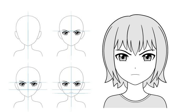 Contoh gambar gadis anime marah