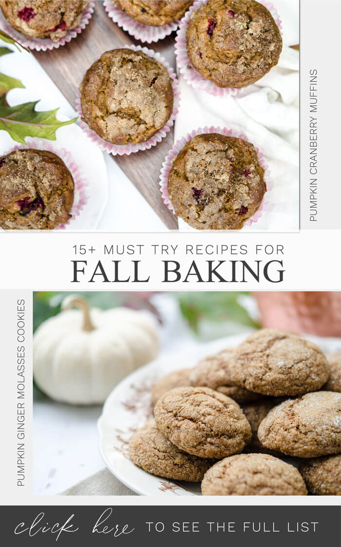 15+ Recipes you must try for your fall baking with pumpkin cookies, apple pies, and more.