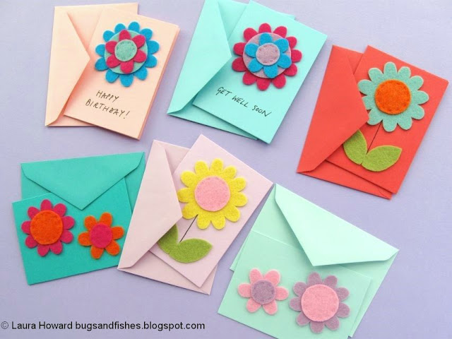 Felt Flower Notecards Tutorial
