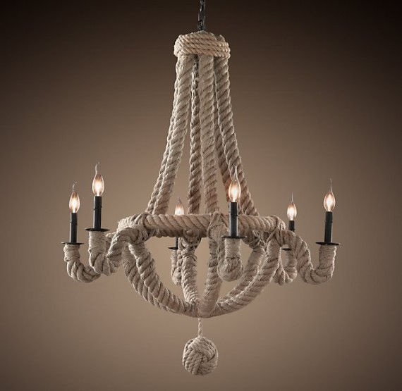 Cool So back to the chandelier a long time ago I was in the sale room at Anthropologie and saw this awesome chandelier made of rope