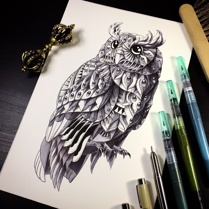 14-Owl-Ben-Kwok-bioworkz-Animals-Drawings-Detailed-with-Elaborate-Geometric-Shapes-www-designstack-co