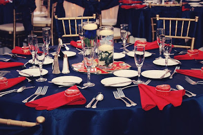 Blue Tablecloth, Red Napkins, White Dinner Plates