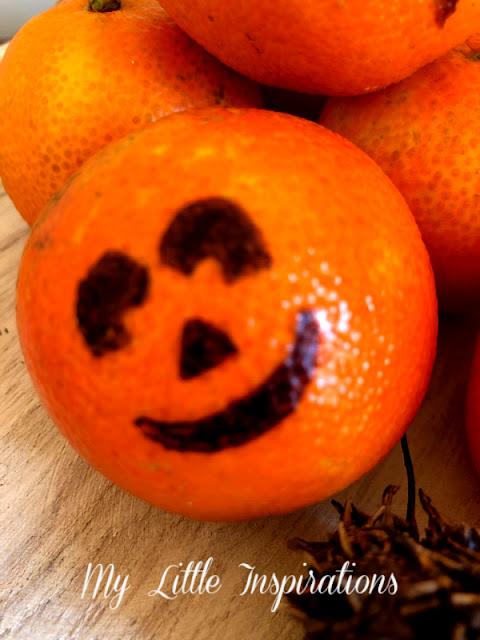 Centrotavola per Halloween con Mandarini - faccina 2 allegra- MLI