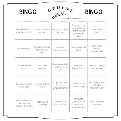 Gruene Hall Bingo