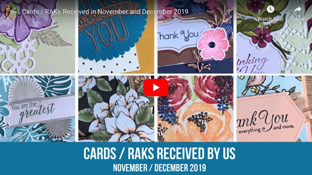 Cards / RAKs we received in November / December 2019