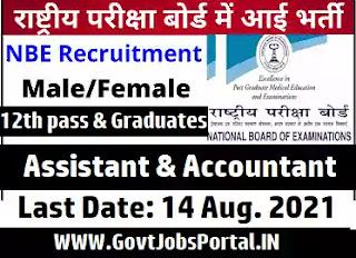 NBE Vacancy for Junior Assistant, Sr. Assistant & Jr. Accountant