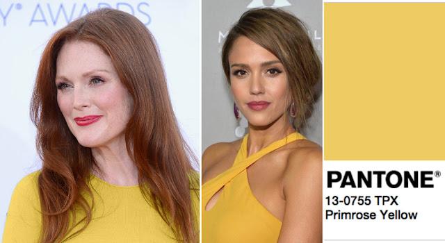 Цвет Pantone 2017 года Primrose Yellow на рыжей и брюнетке