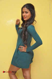 Telugu Actress Prasanthi Stills in Green Short Dress at Swachh Hyderabad Cricket Press Meet  0055.JPG