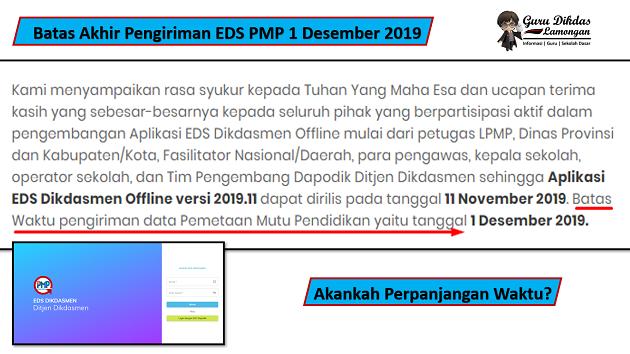 Batas Akhir Pengiriman EDS PMP 1 Desember 2019