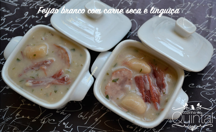 Feijão Branco com Carne Seca e Linguiça na panelinha JO Decor