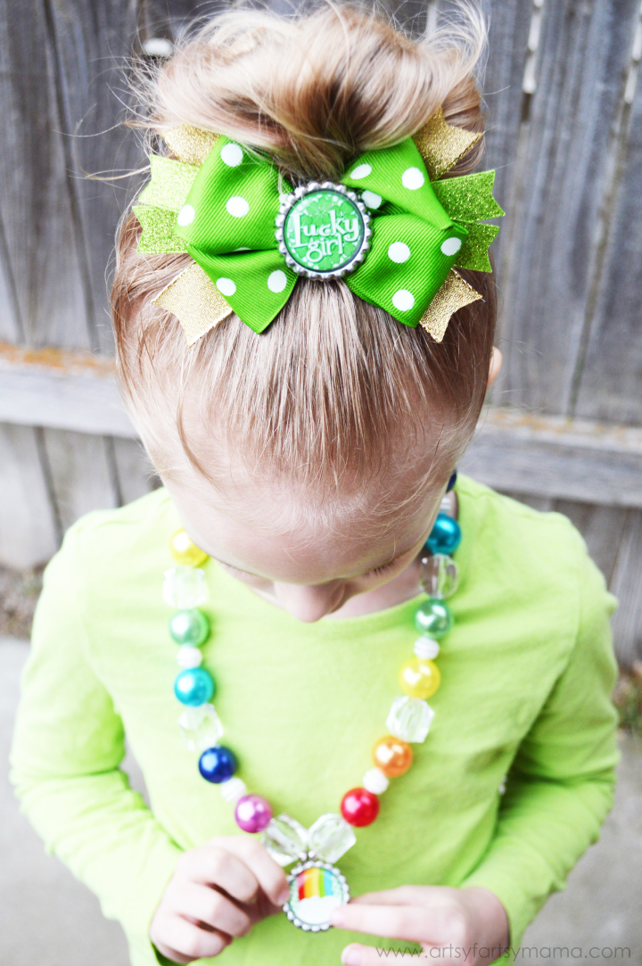 St Patrick S Day Bottle Cap Necklace And Hair Bow Artsy