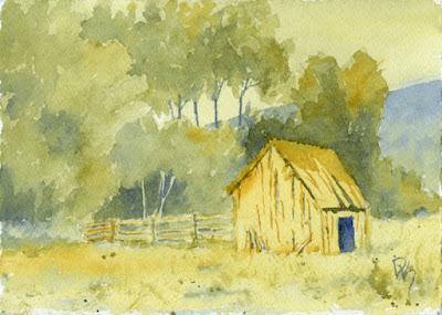 watercolor painting art rural barn abandoned