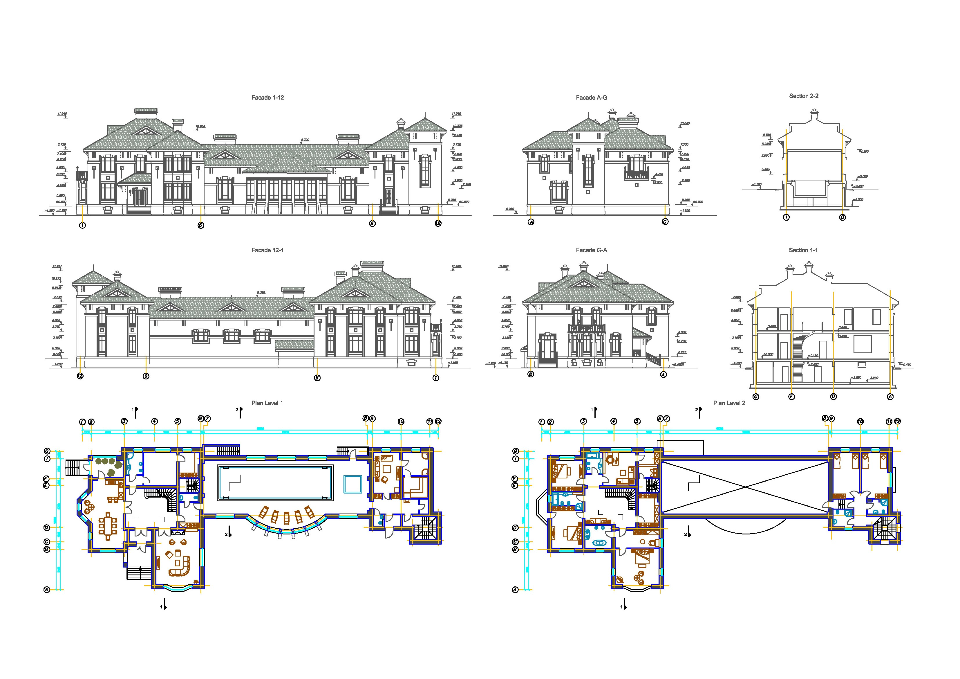 Modern House Design With Swimming Pool Dwg Civil Engineering