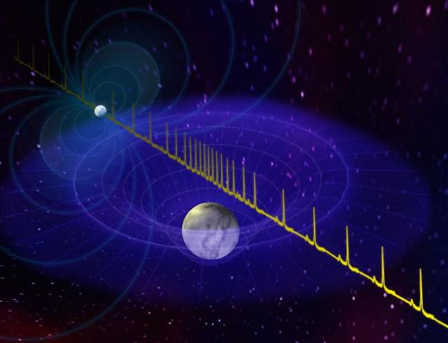 Ilustração do Atraso de Shapiro observado nos pulsos da estrela de Nêutrons J0740+6620 causado pela gravidade de sua companheira anã branca
