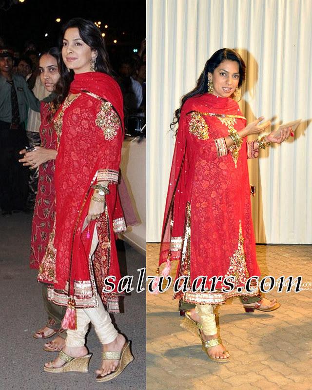 Juhi Chawla Red Salwar at Boman Irani's Son Wedding