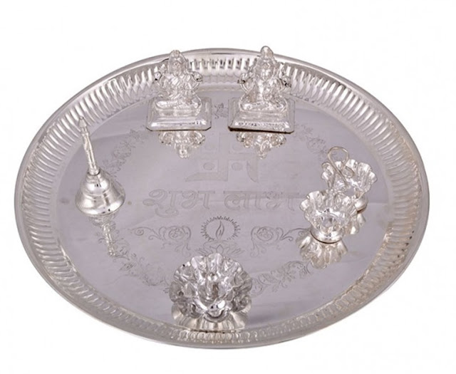 silver plated ganesh laxmi shubh labh pooja thali 6pcs.