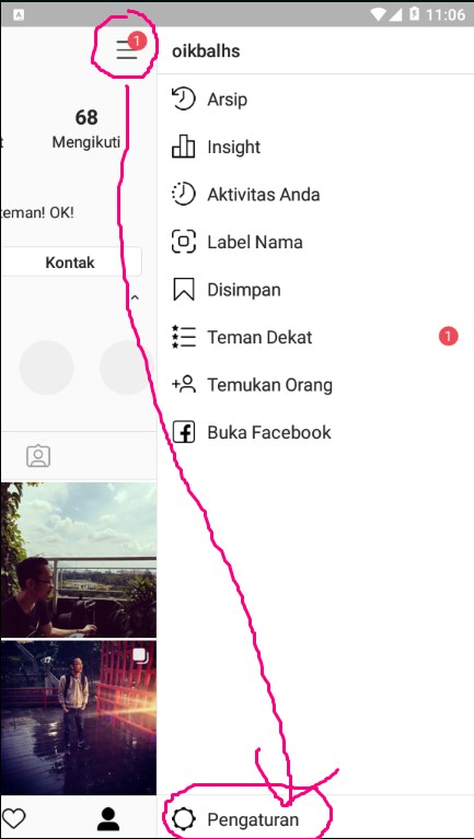 Pengaturan/ Settings Akun Instagram di Handphone.