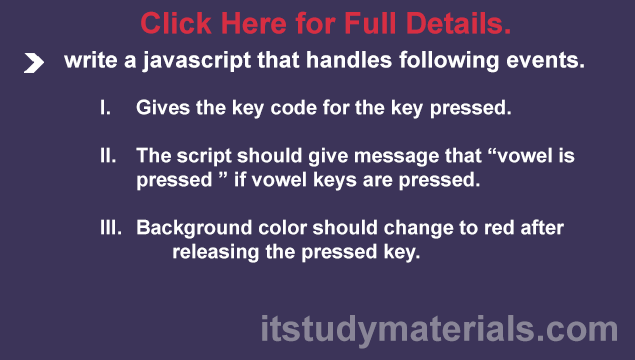 write a javascript that handles following events key pressed vowel
