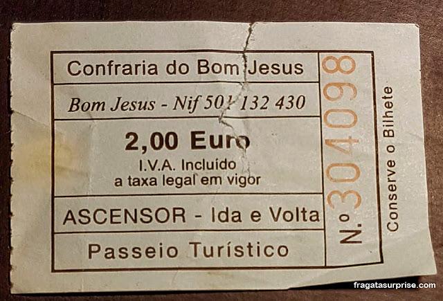 Bilhete para o funicular de acesso ao Santuário de Bom Jesus do Monte, Braga, Portugal