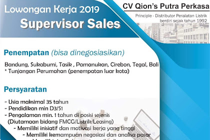 Lowongan Kerja Supervisor Sales CV Qion's Putra Perkasa Penempatan Tasikmalaya