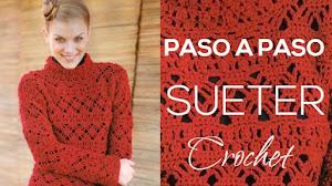 Guía para tejer suéter crochet con puntos combinados