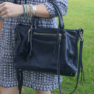 Rebecca Minkoff Regan Satchel Tote in moon with blue boho printed dress and bracelet stack  | awayfromtheblue
