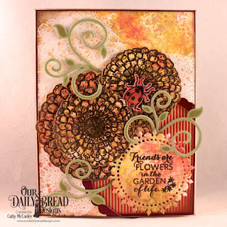 Our Daily Bread Designs Zinnia Bundle, Paper Collection: Fall Favorites, Custom Dies; Pierced Rectagles, Fancy Circles, Fancy Foliage