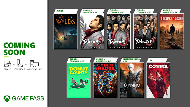 xbox game pass 2021 control cyber shadow desperados 3 donut county outer wilds the medium yakuza remastered collection android pc xb1 xsx