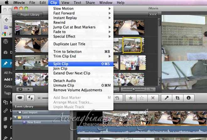 memisahkan video klip dengan imovie