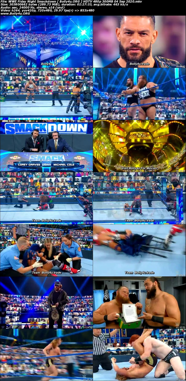 WWE Fiday Night Smackdown HDTV 480p 300MB 04 Sep 2020 Download