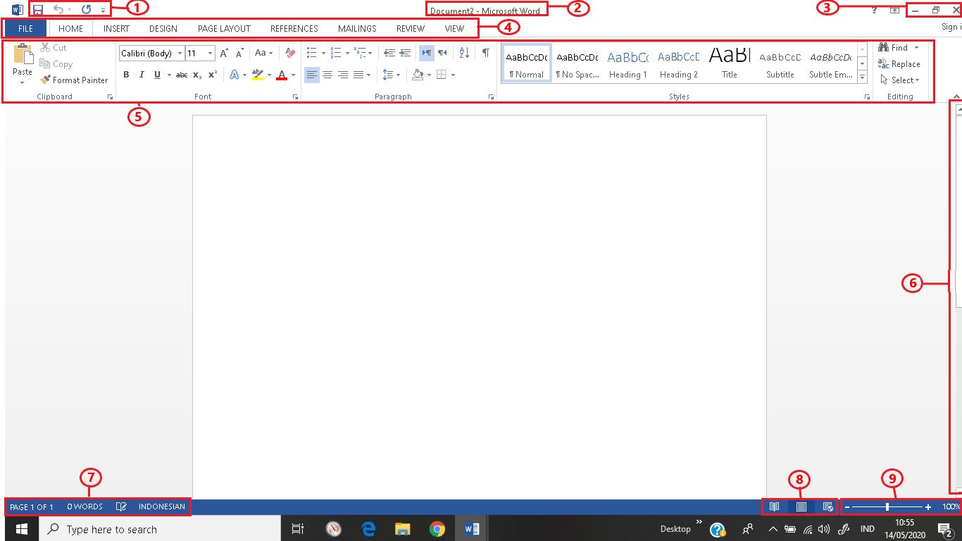 Bagian menu Microsoft word