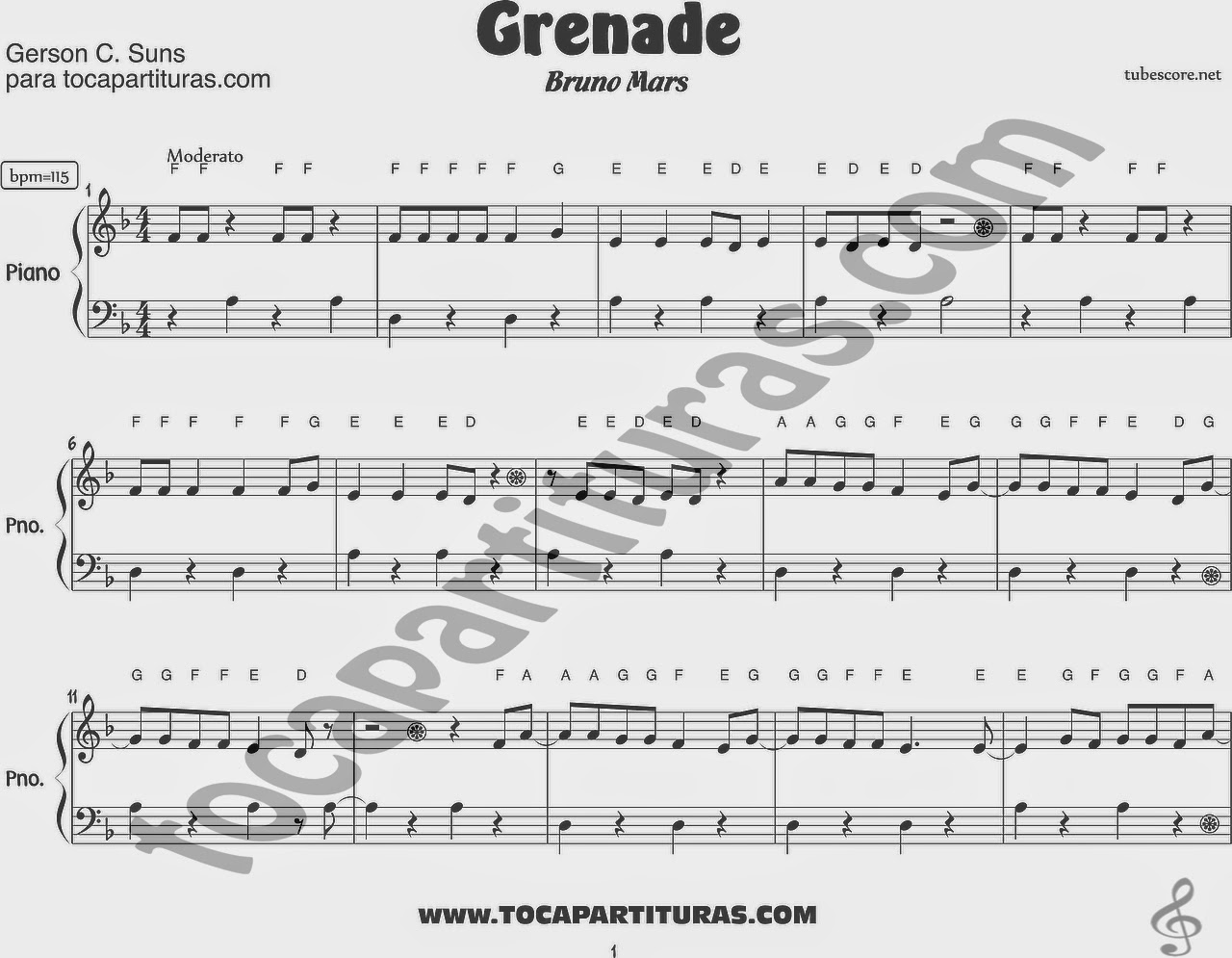 Partitura de Piano muy fácil de Grenade de Bruno Mars. Easy Sheet Music for piano beginners Grenade