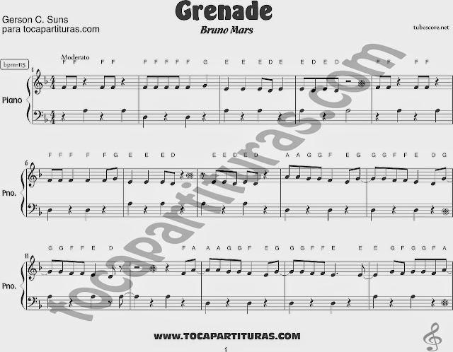 Partitura de Piano muy fácil de Grenade de Bruno Mars. Easy Sheet Music for piano beginners Grenade