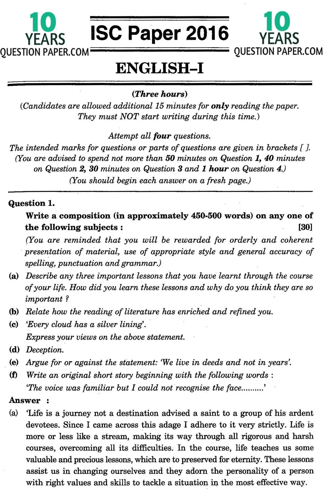isc english i solved paper class years question paper note the solution will be sent in your email in 24 hr