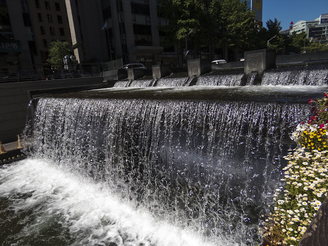 Waterfall along Cheonggyecheon Stream in Seoul South Korea