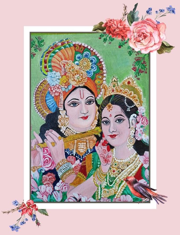 Radhe Krishna oil painting 🖌️